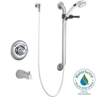Commercial Single-Handle 2-Spray Tub and Shower Faucet in Chrome (Valve Not Included)