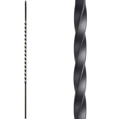 Twist and Basket 44 in. x 0.5 in. Satin Black Long Single Twist Hollow Wrought Iron Baluster