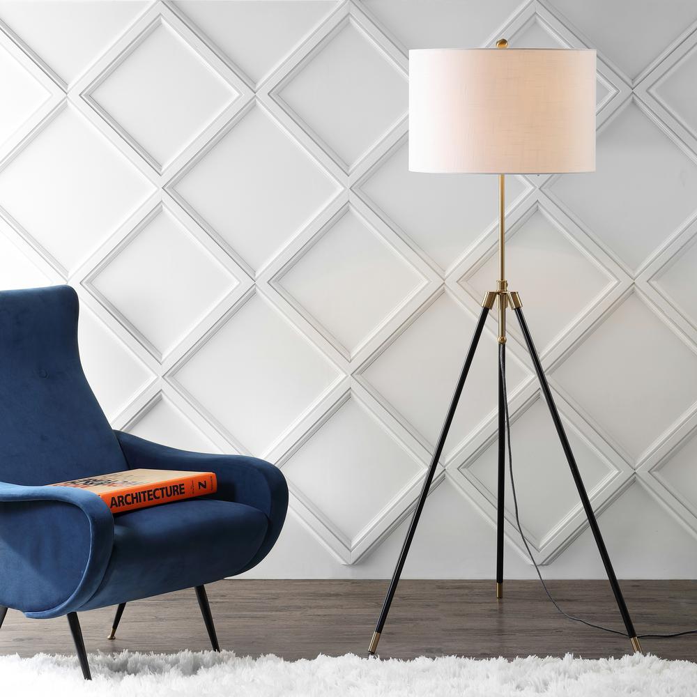 Lucius 67 in. Black/Brass Adjustable Metal LED Floor Lamp