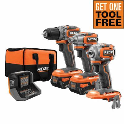 18-Volt SubCompact Brushless 2-Tool Combo Kit with (2) 2.0 Ah Batteries, Charger and Bag with Free 3/8 in. Impact Wrench