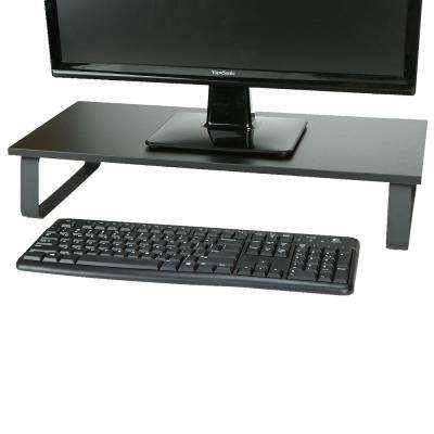 Monitor Stand Black Wood & Steel Sturdy Laptop Riser Desktop, Black