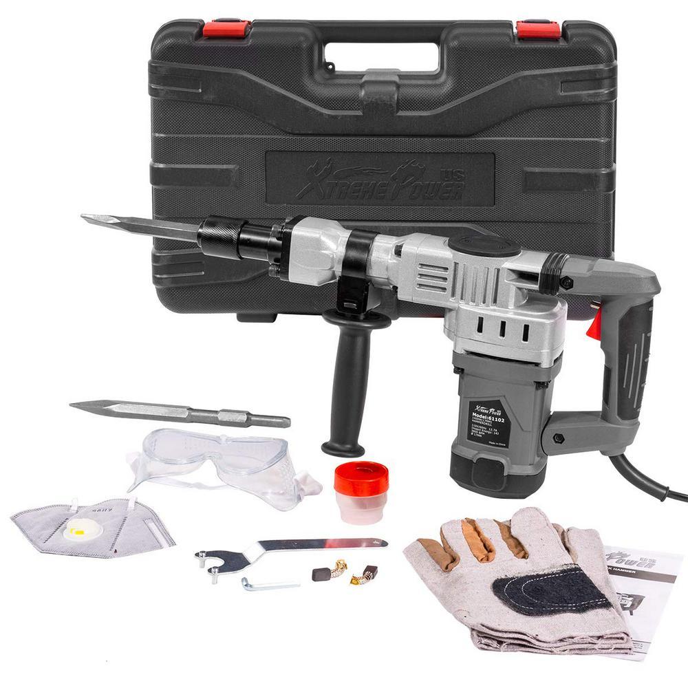 1400-Watt Demolition Hammer Jackhammer Trigger-Lock Concrete Breaker with 2 Chisel Bit and Storage Case