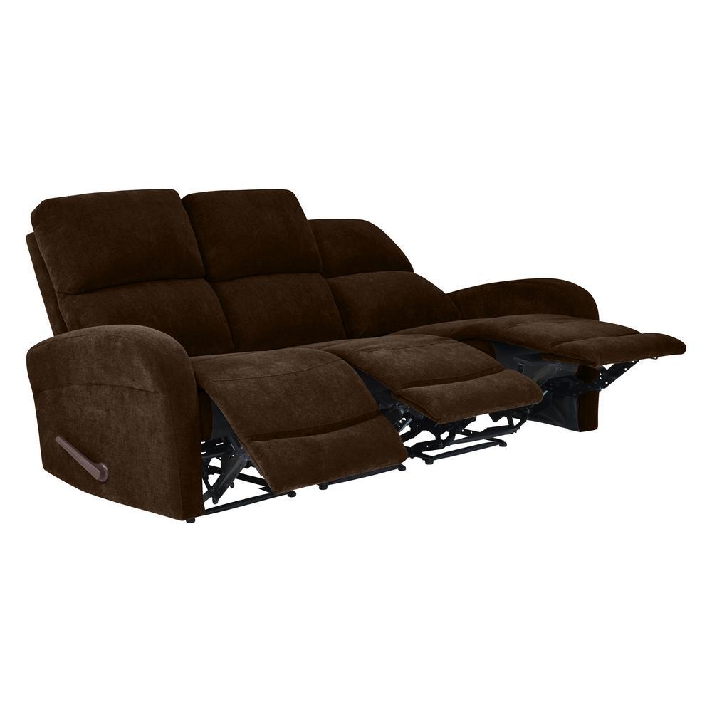 Chocolate Brown Chenille Modular Recliner Sofa (3-Seat)