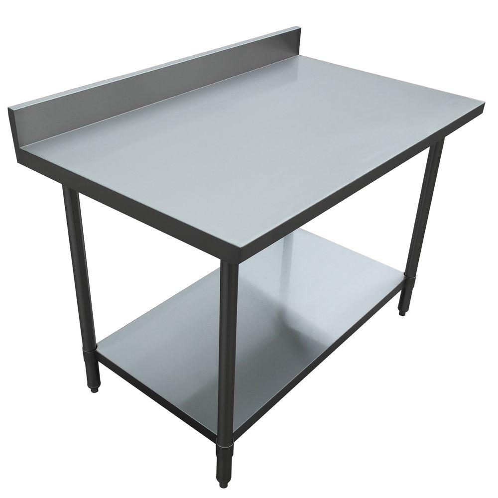 Excalibur Stainless Steel Kitchen Utility Table With Backsplash