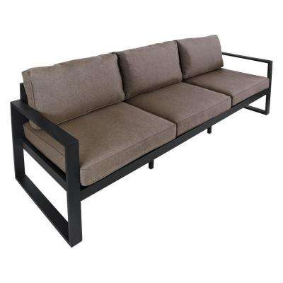 Baltic 82 in. Black Aluminum All-Weather Casual Outdoor Patio Sofa with Gray Cushions