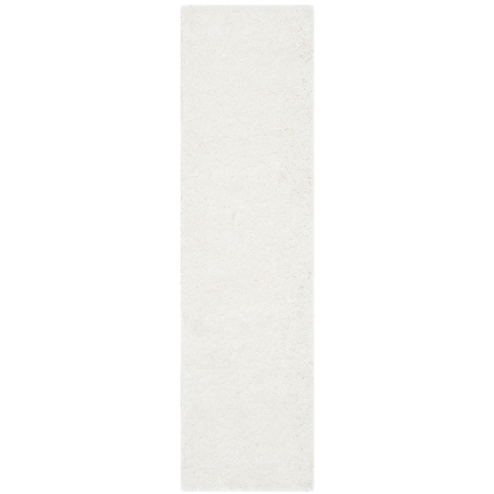 California Shag White 2 ft. x 15 ft. Runner Rug