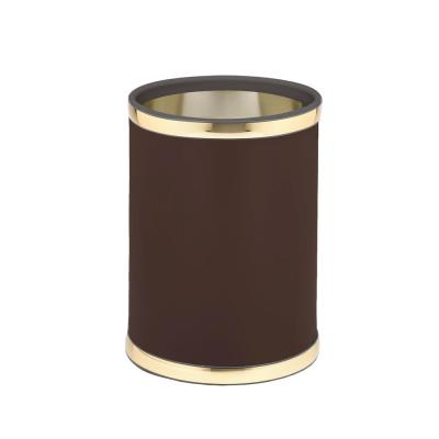 Sophisticates 8 Qt. Brown and Polished Brass Round Waste Basket
