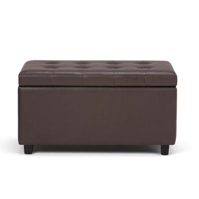 City 34 inch Wide Contemporary Rectangle Storage Ottoman in Chocolate Brown Faux Leather