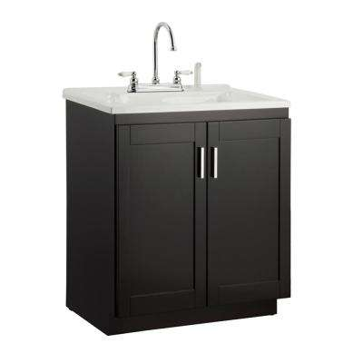 Palmero 30 in. Laundry Vanity in Espresso and Premium Acrylic Sink in White and Faucet Kit