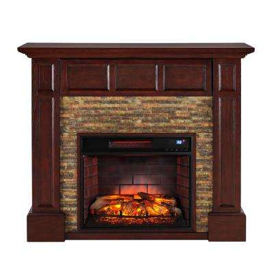 Elaine 48 in. Faux Stone Media Infrared Electric Fireplace in Whiskey Maple