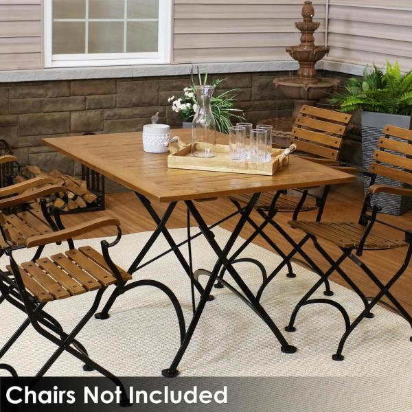 Sunnydaze Decor European 48 In X 32 In Folding Chestnut Wood Patio Dining Table Dmr 820 The Home Depot