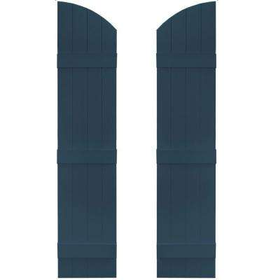 14 in. x 61 in. Board-N-Batten Shutters Pair, 4 Boards Joined with Arch Top #036 Classic Blue