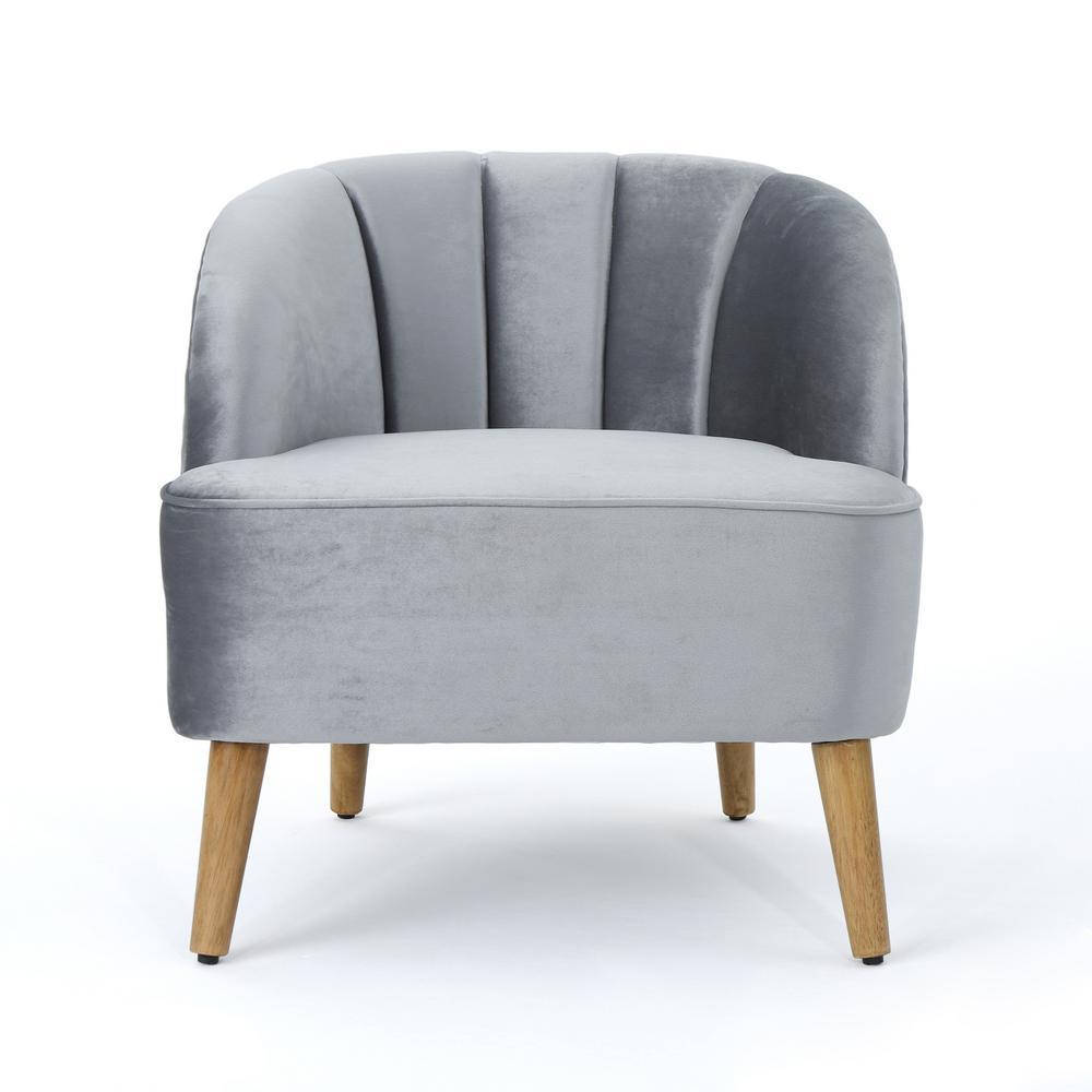 Amaia Modern Pewter Velvet Club Chair