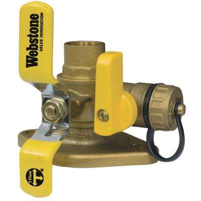 Isolator 1 in. IPS Full Port Forged Brass Uni-Flanged Ball Valve with Rotating Flange and Drain