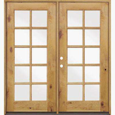 72 in. x 80 in. French Knotty Alder Unfinished Left-Hand Clear 10-Lite Glass Wood Inswing Double Prehung Front Door