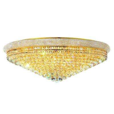 30-Light Gold Flushmount with Clear Crystal