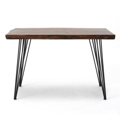 Chana Industrial Rectangular Natural Faux Live Edge Dining Table