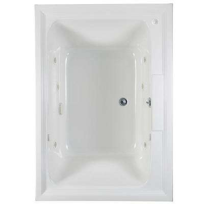 Town Square 60 in. x 42 in. Center Drain EcoSilent EverClean Whirlpool Tub in White