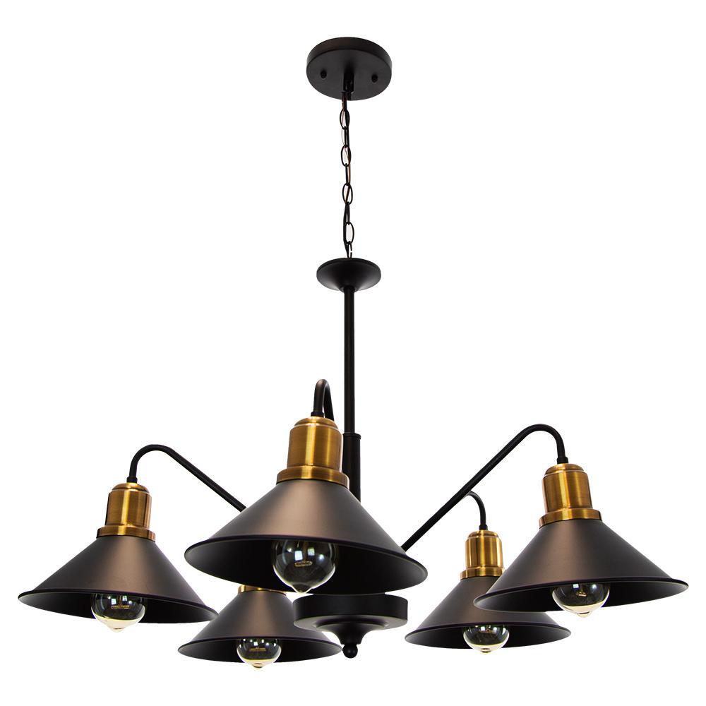 Parma 5-Light Ceiling Vintage Matte Black Hanging Pendant.