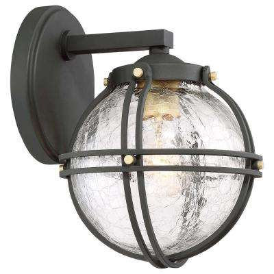 Rond 1-Light Black with Honey Gold Highlights Outdoor Wall Mount Lantern with Clear Crackle Glass