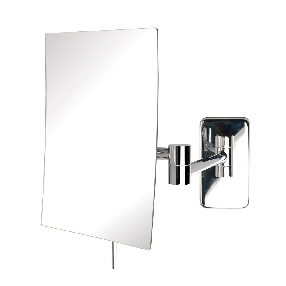 Jerdon 9 in x 10 in wall mirror in chrome jrt695c the for Wall mounted mirror