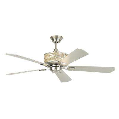 Piper 54 in. Indoor Brushed Steel Ceiling Fan