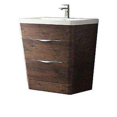 Milano 32 in. Vanity in Rosewood with Acrylic Vanity Top in White