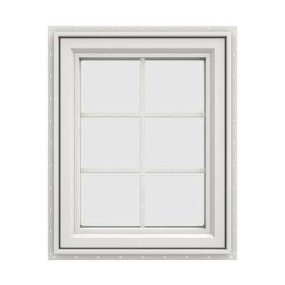 23.5 in. x 35.5 in. V-4500 Series White Vinyl Right-Handed Casement Window with Colonial Grids/Grilles