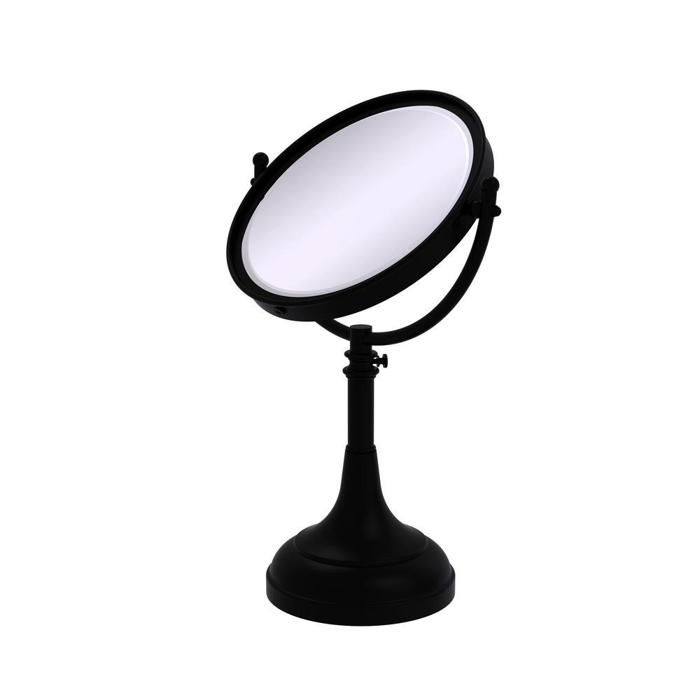 Height Adjustable 8 in. Vanity Top Makeup Mirror 5x Magnification in Matte Black