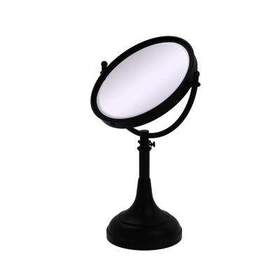 Height Adjustable 8 in. Vanity Top Make-Up Mirror 5x Magnification in Matte Black