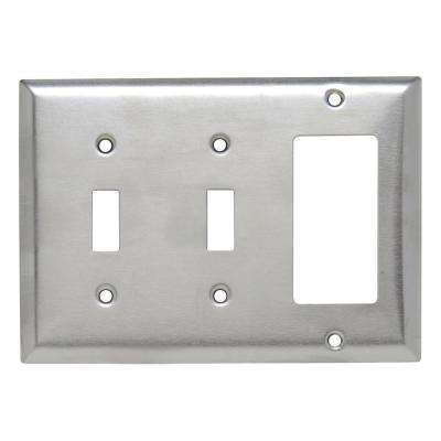 302 Series 3 Gang Decorator Toggle Combination Wall Plate In Stainless Steel