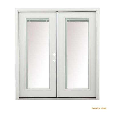 60 in. x 80 in. Primed Steel Right-Hand Inswing Full Lite Glass Stationary/Active Patio Door w/Blinds