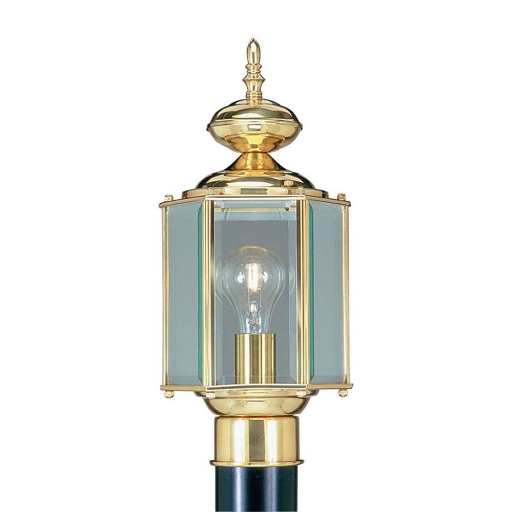 Livex Lighting Providence 1-Light Outdoor Polished Brass Incandescent Post Lantern