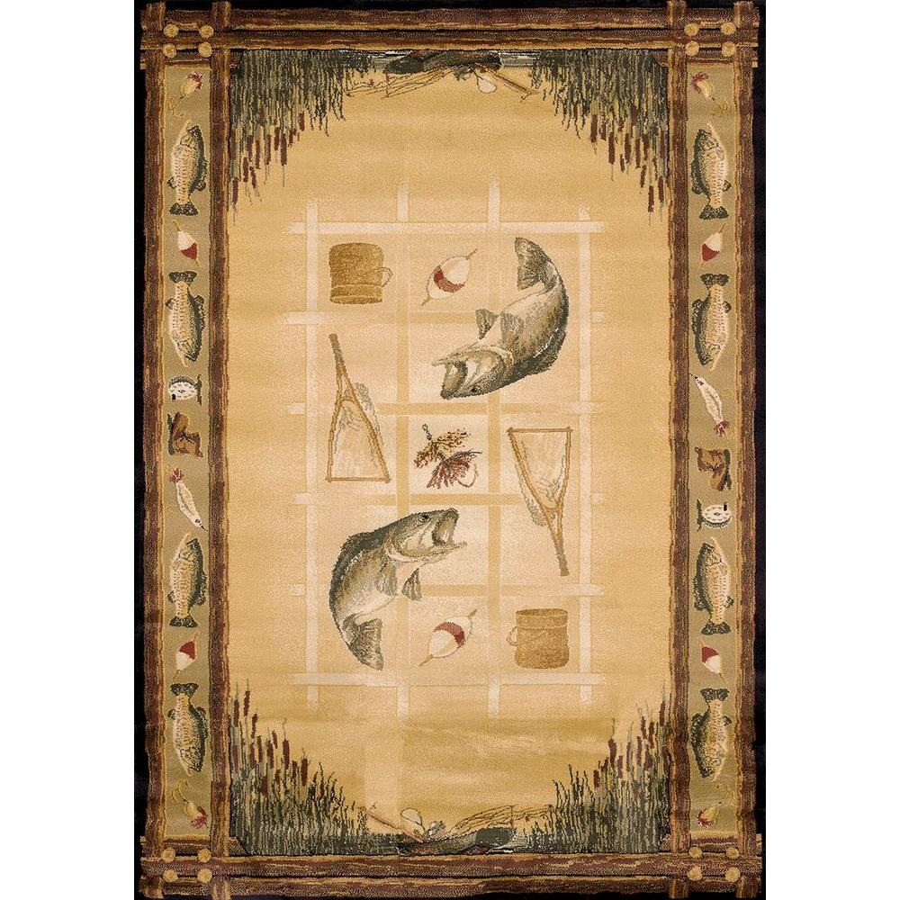 United Weavers Lakeside Beige 5 ft. 3 in. x 7 ft. 6 in. Contemporary Lodge Area Rug