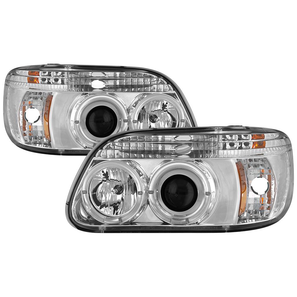 Ford Explorer 95 01 1pc Projector Headlights Led Halo Chrome High H1 Included Low