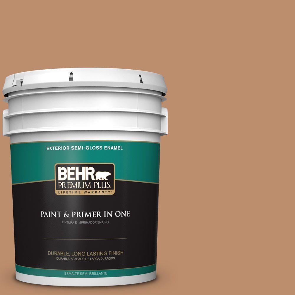 BEHR Premium Plus 5-gal. #260F-5 Applesauce Cake Semi-Gloss Enamel Exterior Paint