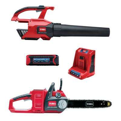 PowerPlex 40-Volt Lithium-Ion Cordless Leaf Blower and Chainsaw Combo Kit (2-Tool) - 2.5 Ah Battery and Charger lncluded