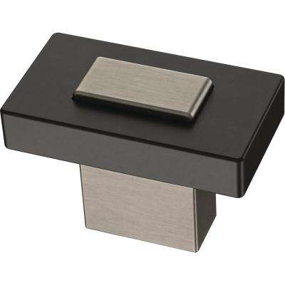 Industrial Insert 1-7/16 in. (36 mm) Heirloom Silver and Flat Black Cabinet Knob
