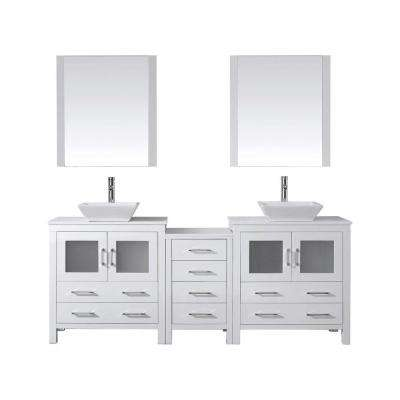Dior 83 in. W Bath Vanity in White with Stone Vanity Top in White with Square Basin and Mirror and Faucet