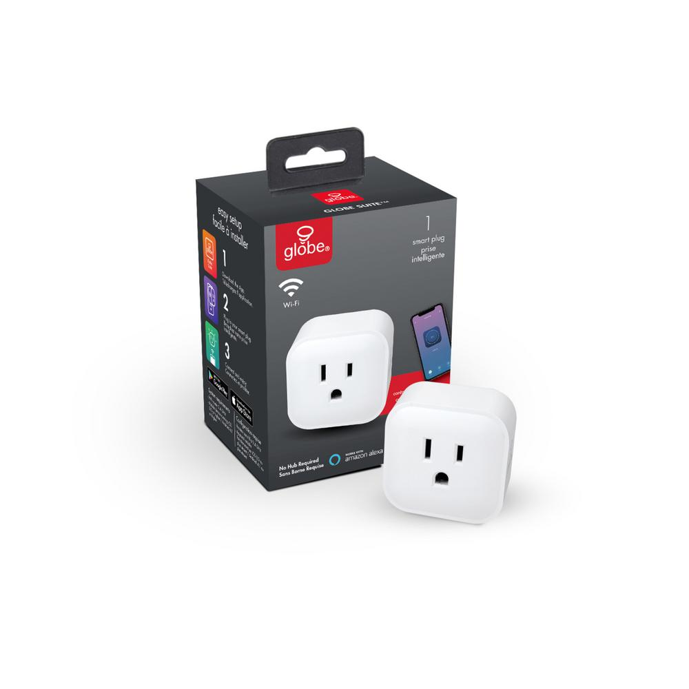 Globe Electric Wi-Fi Smart Plug, No Hub Required in White
