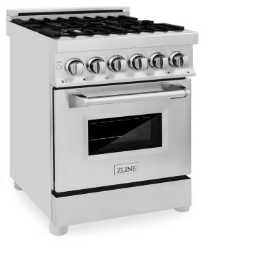 ZLINE 24 in. Professional Dual Fuel Range in Stainless Steel with Brass Burners