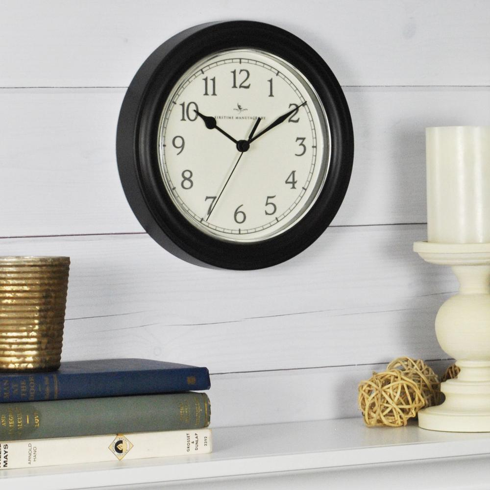 FirsTime 8.5 in. Black Round Essential Wall Clock