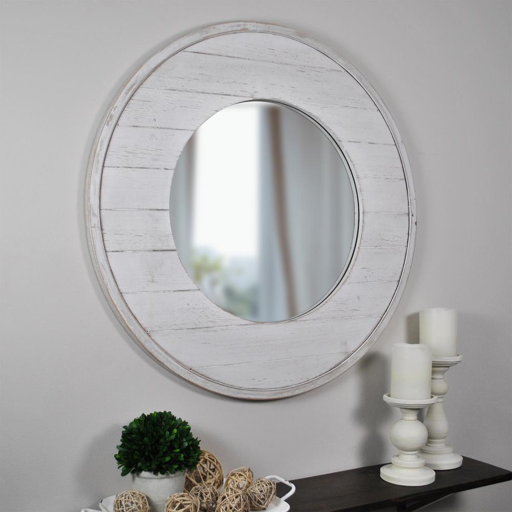 Medium Round Aged White Modern Mirror (27 in. H x 27 in. W)