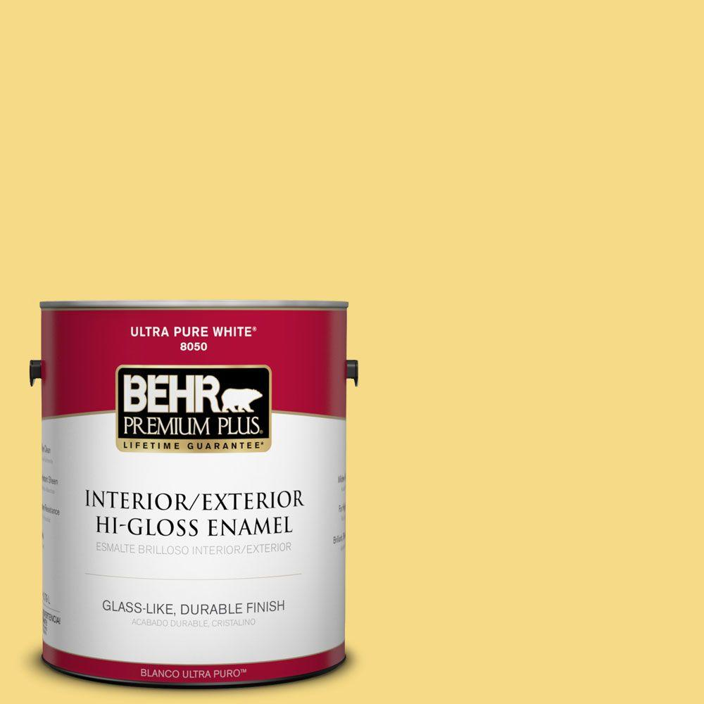 BEHR Premium Plus 1-gal. #390B-5 Bee Pollen Hi-Gloss Enamel Interior/Exterior Paint