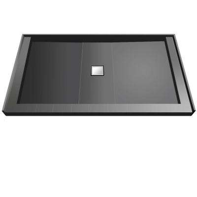37 in. x 72 in. Triple Threshold Shower Base with Center Drain