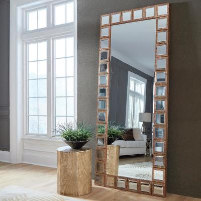 Medium Rectangle Acid Treated Copper Beveled Glass Contemporary Mirror (36.5 in. H x 85 in. W)