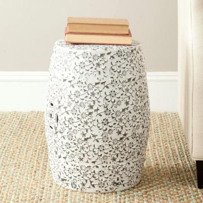 Flower and Vine White/Charcoal Ceramic Garden Stool