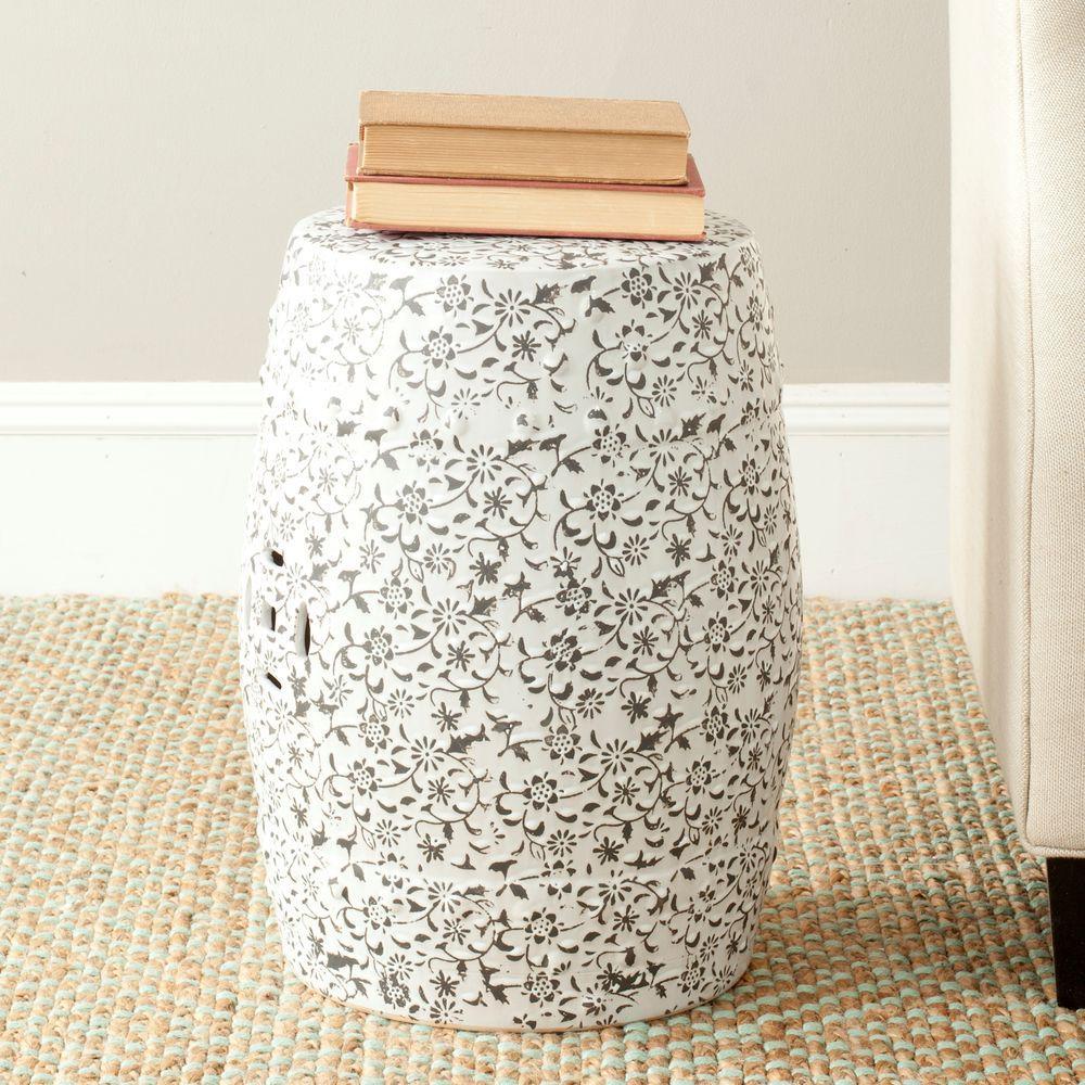 Flower and Vine White/Charcoal Ceramic Garden Stool