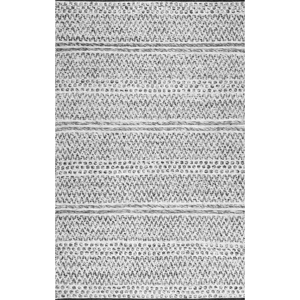 Natosha Indoor/Outdoor Chevron Striped Silver 6 ft. x 9 ft. Area Rug