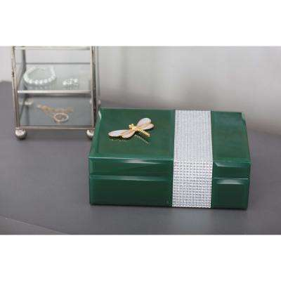 Dark Green Jewelry Box with Gold Dragonfly Sculpture